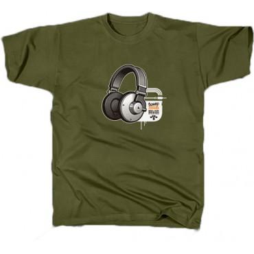 Pánské triko Sound - M,L,XL,XXL (olivová, tm. modrá)