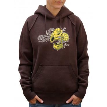 Dámská mikina s kapucí - S,M / Gramophone Brown