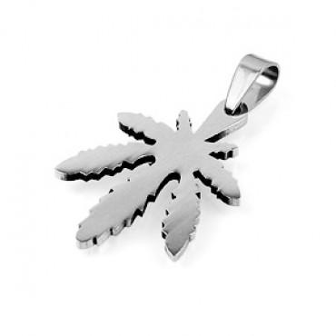 Přívěsek z chirurgické oceli / Cannabis