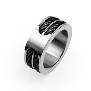 Prsten z chirurgické oceli Double Cable - US 9,5